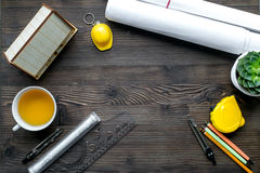 Profession concept with architect desk and tools wooden background top view mockup Stock Photos