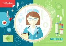 Profession concept with medical assistant Stock Images