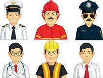 Profession - Construction Worker, Doctor, Fire Fighter, Pilot, Police, Office Worker. A vector set of construction worker, doctor, fire fighter, pilot, police Stock Images
