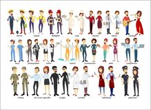 Profession couple set. Police and firefighters, businessmen and doctors Stock Images