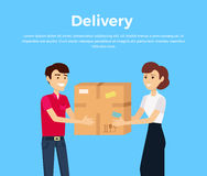 Profession Courier with Box. Delivery man, delivery icon, free delivery, delivery parcel, service delivery, person profession character courier postman Stock Images