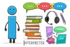 Profession d'Alphabeth - lettre I - interprète illustration libre de droits