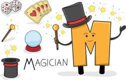 Profession d'Alphabeth - lettre M - magicien Images libres de droits