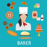 Profession de Baker et icônes plates de pâtisseries Image libre de droits