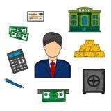 Profession de banquier et icônes financières illustration libre de droits