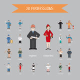 Profession of different people - vector. Cartoon different characters and different clothes. Flat style design Stock Image