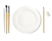 Profession feeds. Painter. Dinner placemats for a painter. Vector illustration. White background Stock Image