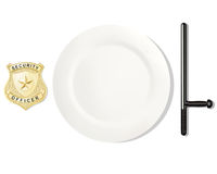 Profession feeds. Police. EPS. Dinner placemats for a policeman.  Vector illustration. White background Royalty Free Stock Photos
