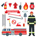 Profession of fireman or firefighter vector tools. Fireman or firefighter profession and fire extinguishing tools. Vector icons set of fire engine truck and Royalty Free Stock Photos