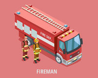 Profession Fireman Isometric Template. With firefighters in uniform standing near truck isolated vector illustration Royalty Free Stock Photo
