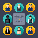 Profession flat avatars with shadows vector set. Police department icons set Stock Images