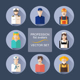 Profession flat avatars with shadows vector set. Various professions icon set royalty free illustration