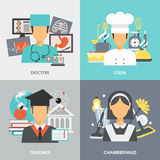 Profession Flat Set. Profession design concept set with doctor cook teacher and chambermaid flat icons  vector illustration Stock Images