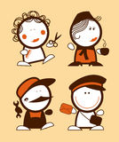 Profession funny peoples. Set of profession funny peoples icons Stock Photos