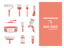 Profession - house painter. Repairing tools set. Flat decorative icons. Royalty Free Stock Image