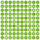 100 profession icons hexagon green Stock Photography