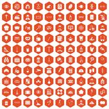 100 profession icons hexagon orange Stock Images