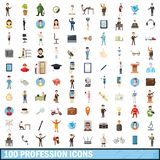 100 profession icons set, cartoon style. 100 profession icons set in cartoon style for any design illustration royalty free illustration