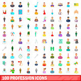 100 profession icons set, cartoon style Royalty Free Stock Photos