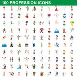100 profession icons set, cartoon style. 100 profession icons set in cartoon style for any design vector illustration stock illustration