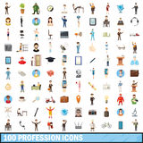 100 profession icons set, cartoon style Stock Image