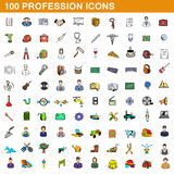 100 profession icons set, cartoon style Royalty Free Stock Images