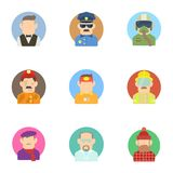 Profession icons set, flat style Royalty Free Stock Photo