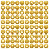 100 profession icons set gold. 100 profession icons set in gold circle isolated on white vector illustration vector illustration