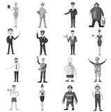 Profession icons set, gray monochrome style. Profession icons set. Gray monochrome illustration of 16 profession vector icons for web Royalty Free Stock Photos