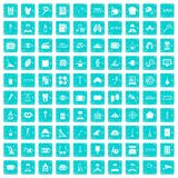 100 profession icons set grunge blue Royalty Free Stock Images