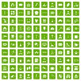 100 profession icons set grunge green. 100 profession icons set in grunge style green color isolated on white background vector illustration Royalty Free Stock Photos