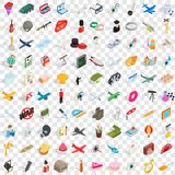 100 profession icons set, isometric 3d style Stock Image