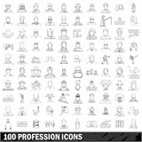 100 profession icons set, outline style Royalty Free Stock Photography