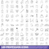 100 profession icons set, outline style Stock Photos