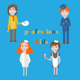 Profession icons set. Profession for kids cartoon collection. Child Service Occupation Royalty Free Stock Image