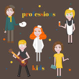 Profession icons set. Profession for kids cartoon collection. Child Service Occupation Stock Image
