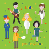 Profession icons set. Profession for kids cartoon collection. Child Service Occupation Stock Photography