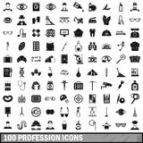 100 profession icons set, simple style. 100 profession icons set in simple style for any design vector illustration Stock Image