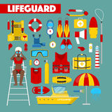 Profession Lifeguard Water Rescue with Safety Icons Stock Images