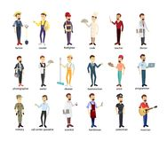Profession men set. Police and firefighters, businessmen and doctors Royalty Free Stock Photography