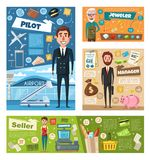 Profession occupation banner of worker in uniform Royalty Free Stock Images
