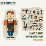 Profession of people. Flat infographic. Barber Royalty Free Stock Photography