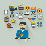 Profession of people. Flat infographic. Filmmaker. Filmmaker with infographic elements on a light background Stock Image