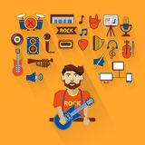 Profession of people. Flat infographic. Musician Royalty Free Stock Images