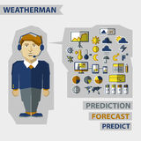 Profession of people. Flat infographic. Weatherman Royalty Free Stock Photo