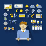 Profession of people. Flat infographic. Weatherman Stock Photos