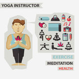 Profession of people. Flat infographic. Yoga Royalty Free Stock Photo