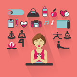 Profession of people. Flat infographic. Yoga Royalty Free Stock Images