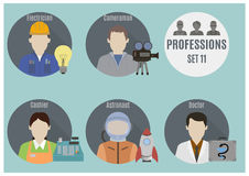 Profession people. Set 11. Flat style icons in circles royalty free illustration