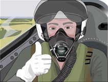 Profession pilot. In the cockpit preparing to start Royalty Free Stock Images